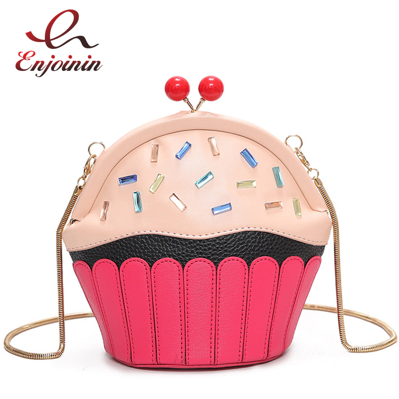Cute fun fashion cakes modeling diamond party casual purse ladies chain shoulder bag handbag crossbody mini messenger bag flap striped fashion design lingge pu leather mini party clutch bag ladies evening bag chain purse mini shoulder bag handbag flap