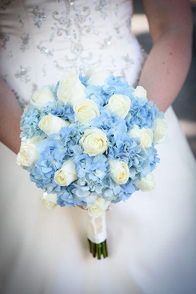 Custom Handmade Artificial Blue Ivory Wedding Bouquet Bridal Flower Hydrangea Rose Beach Bridesmaid Ramo Boda In Bouquets From Weddings