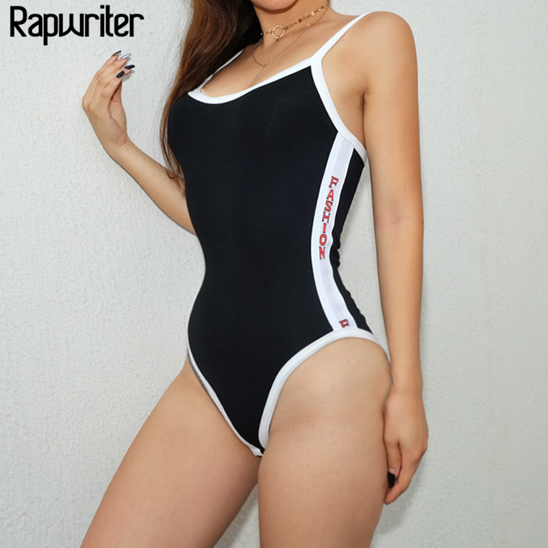 Rapwriter Sexy Two Side Letter Pattern Contrast Color Backless Skinny Bodysuit Women 201 ...