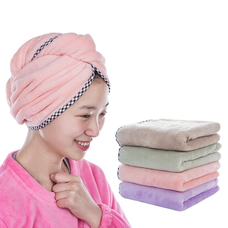 Coral Fleece Solid Hair Turban Quickly Dry Hair Hat For Lady Man Cap Bathing Tool Drying Towel Head Wrap Hat With Button