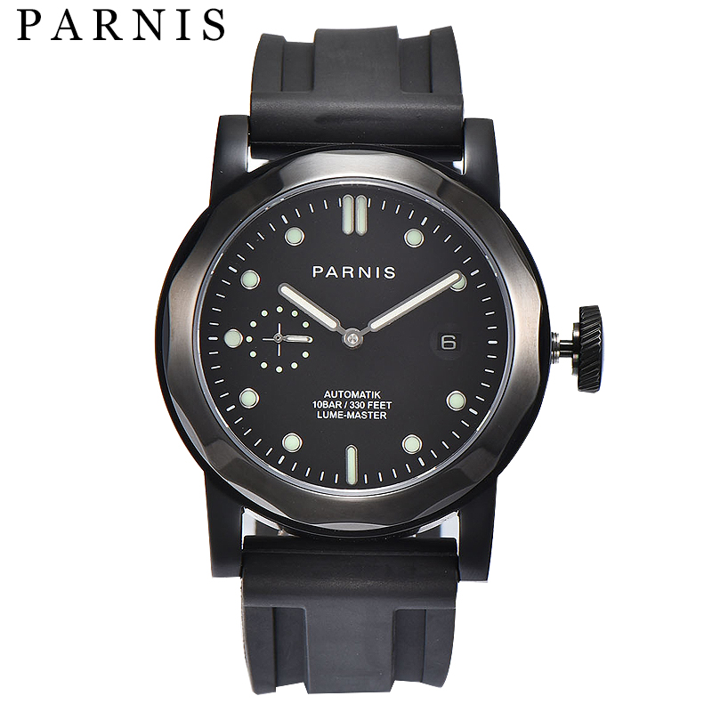 Parnis Casual 43mm Black Automatic Watch Men Auto Date Black Case Sapphire Crystal Brand Luxury Mechanical WatchesParnis Casual 43mm Black Automatic Watch Men Auto Date Black Case Sapphire Crystal Brand Luxury Mechanical Watches