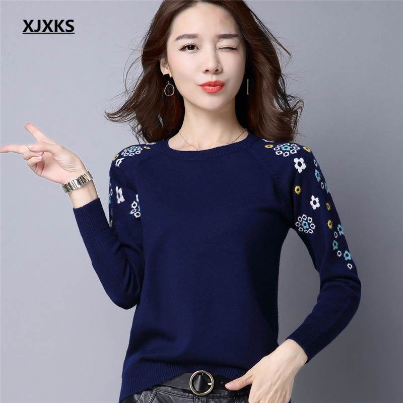 XJXKS Knitted Sweater Women 2019 Autumn And Winter Women Sweaters High Quality Long Sleeve Pullover Ladies Jumper