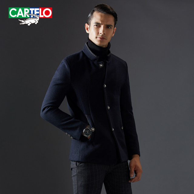 Cartelo brand 2016 brand new stand collar cashmere men wool jacket blends winter fashion business casual overcoat KFJSJD1607