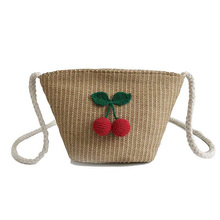 Fashion Ladies Shoulder Bags Vintage Small Cherry Woven Messenger Bag New Summer Fresh Straw Womens