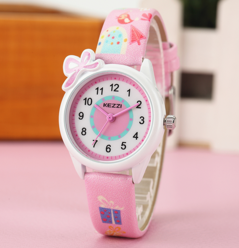 2016 Kezzi Top Brand Kids Children Fashion Watches Quartz Analog Cartoon Leather Strap Wrist Watch Boys Girls Waterproof K-1423 lovely watch new year gifts for children s wrist watch analog quartz watches kids watches rabbit cartoon yellow leather band
