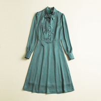2019 spring summer vintage fashion green polka dot elegant dress pearls front bow collar long sleeve a line knee length dresses