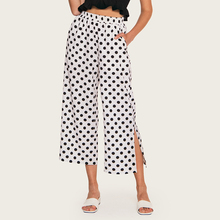 AcFirst Summer Women Fashion White Polyester Loose Long Pants Wide Leg High Waist Female Holiday Casual Dots