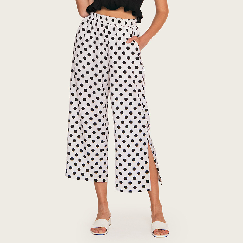 AcFirst Summer Women Fashion White Polyester Loose Long   Pants     Wide     Leg     Pants   High Waist Female   Pants   Holiday Casual Dots