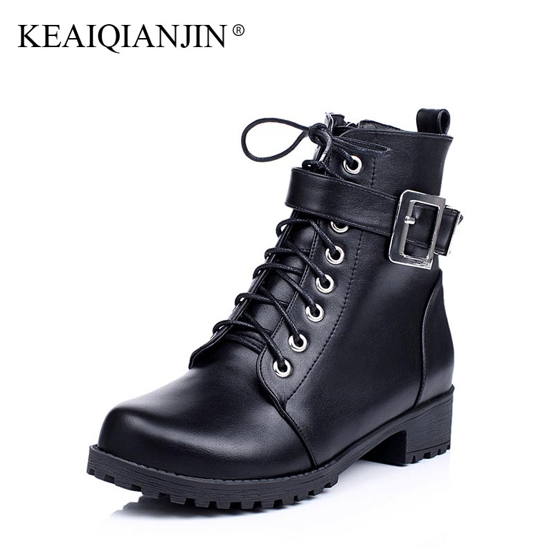 KEAIQIANJIN Woman Lace Up Martin Boots Black Brown Plus Size 34 - 43 Chelsea Boots Fashion Plush Autumn Winter Chelsea Boots lovexss genuine leather chelsea boots fashion warm plush high lace up woman martin boots black brown thick with bullock shoes
