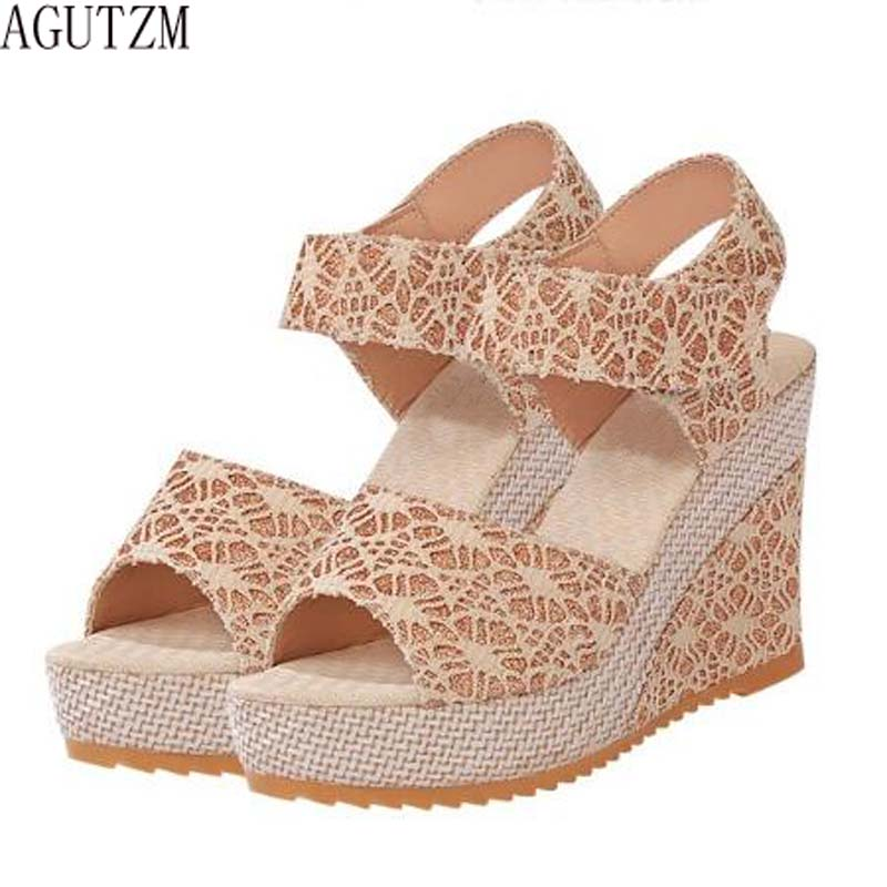 AGUTZM Hot Ladies Sandals Summer Casual Sandals 2018 new Style Fashion Women Sandals Wedges Platform High Heel Shoes V10 rhinestone silver women sandals low heel summer shoes casual platform shiny gladiator sandal fashion casual sapato femimino hot