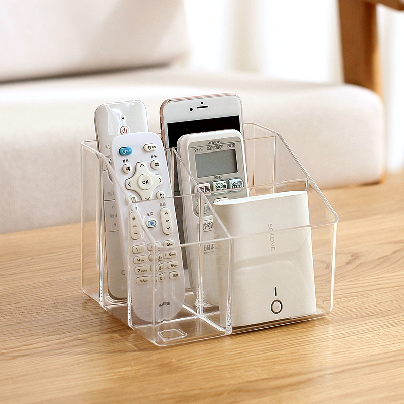 TV Remote Control Phone Storage Box Key Pen Glasses Organizer Desktop Clear Transparent Stand Holder Cosmetic Makeup Container