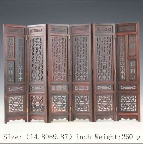 14.89 inch/Hand carved Chinese collection hongshan chicken wings wood folding screen Family table adornment wood carving crafts