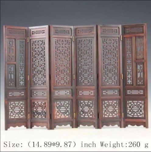14.89 pouces/sculpté à la main collection chinoise hongshan ailes de poulet en bois pliant écran famille table ornement sculpture sur bois artisanat