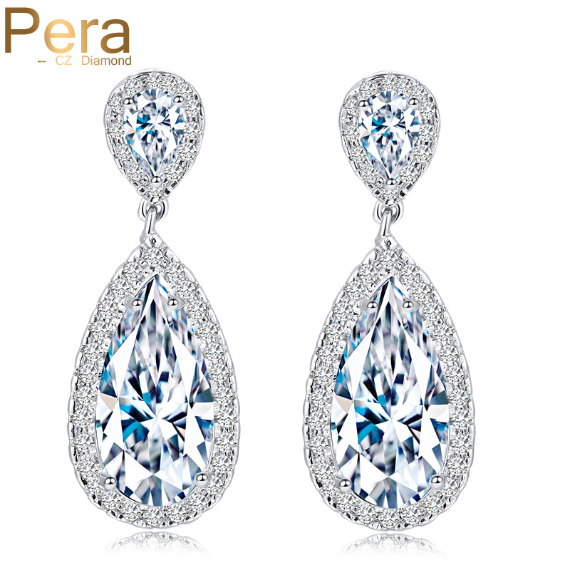 Pera Classic Big Water Drop AAA + Cubic Zirconia Silver Färg Luxury Wedding Bridal Lång Dangle Earrings Smycken För Brudar E016