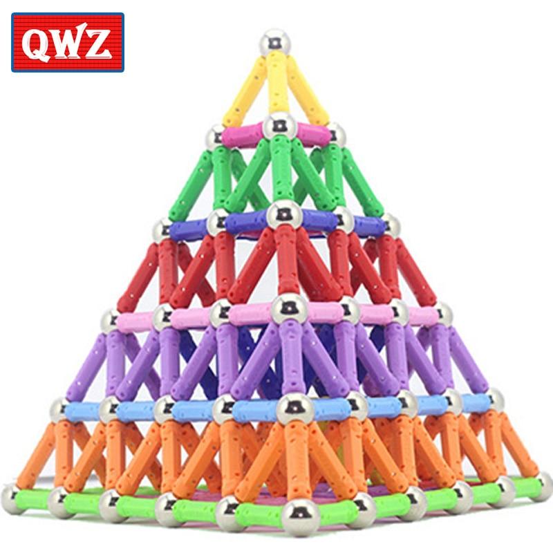 QWZ Magnet Toy Bars & Metal Balls Magnetic Building Blocks Construction Toys For Children DIY Designer Educational Toys For Kids