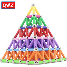 QWZ Magnet Toy Bars & Metal Balls Magnetic Building Blocks Construction Toys For Children DIY Designer Educational Toys For Kids(China)