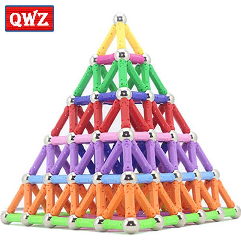 QWZ Magnet Toy Bars & Metal Balls Magnetic Building Blocks Construction Toys For Children DIY Designer Educational Toys For Kids