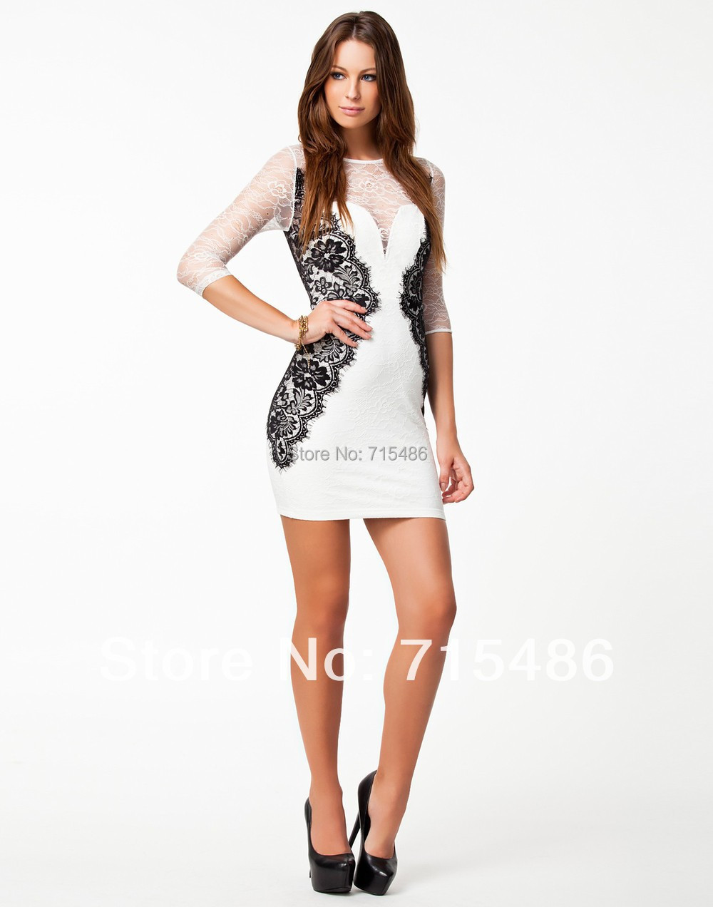 LA17948 Newly Arrival In Stock Women Back Zipper Casual O-Neck Lace Patchwork Vintage Dress Spring Lace Elegant Bodycon Dress