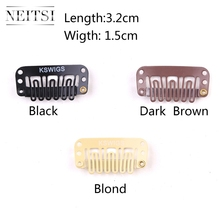 Neitsi 3.2cm 100pcs/pack U Shape Clips Stainless Steel Hair Snap for Feather Clip In Extensions Wigs Weft 3 Colors