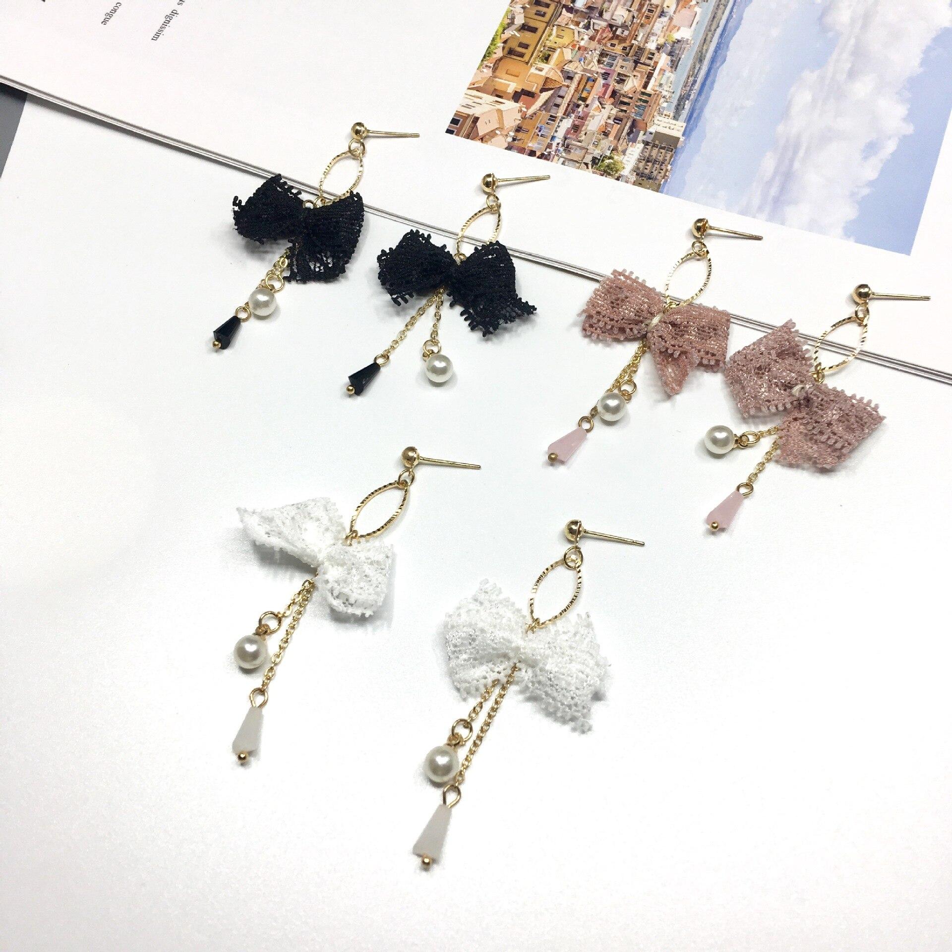 Elegante personalidad coreana lazo de encaje hecho a mano pendientes colgantes grandes perla simulada Boucle D'oreille Femme Pendante
