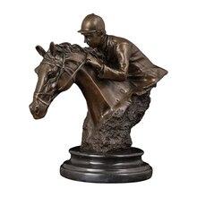 Wholesale Price  Sports Man Sculpture Bronze Vintage Statuette Study Soft Outfit Souvenir Equestrian Prizes Statue