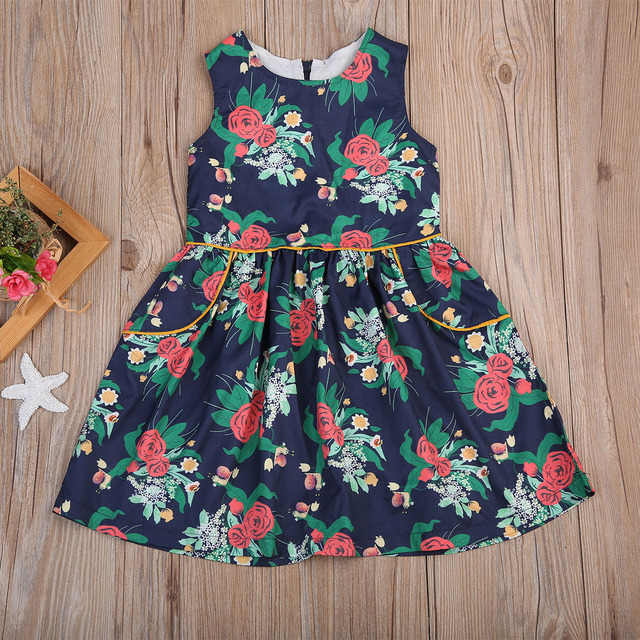 c0f910f63f23 Retro Print Kids Girl Princess Dress Newborn Baby Girls Sleeveless ...
