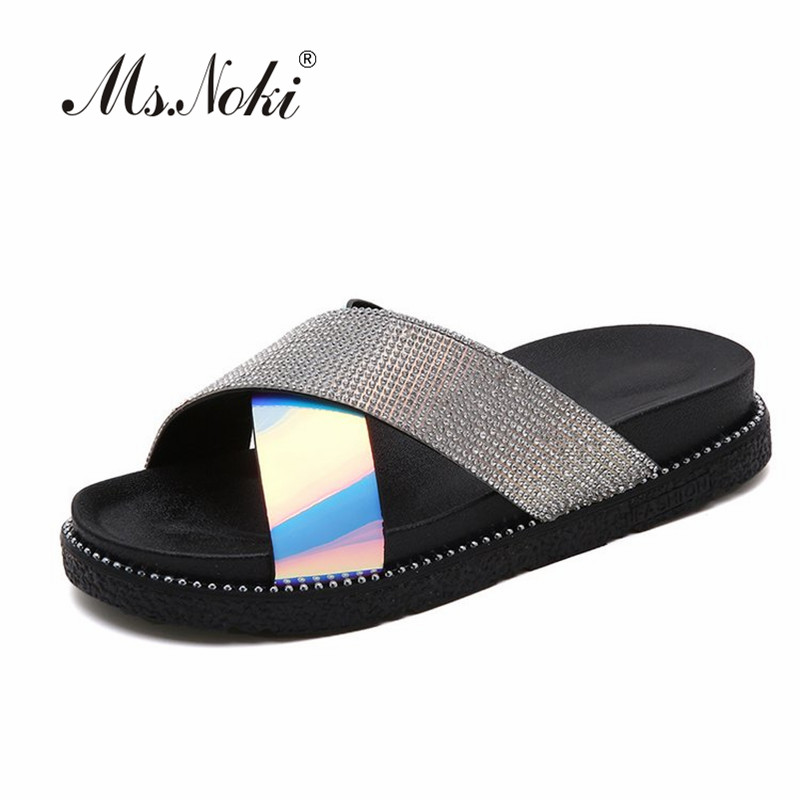 Ms. Noki fashion platform solid women slippers flat with mixed colors sexy ladies slides summer low heel slippers shoes of girls
