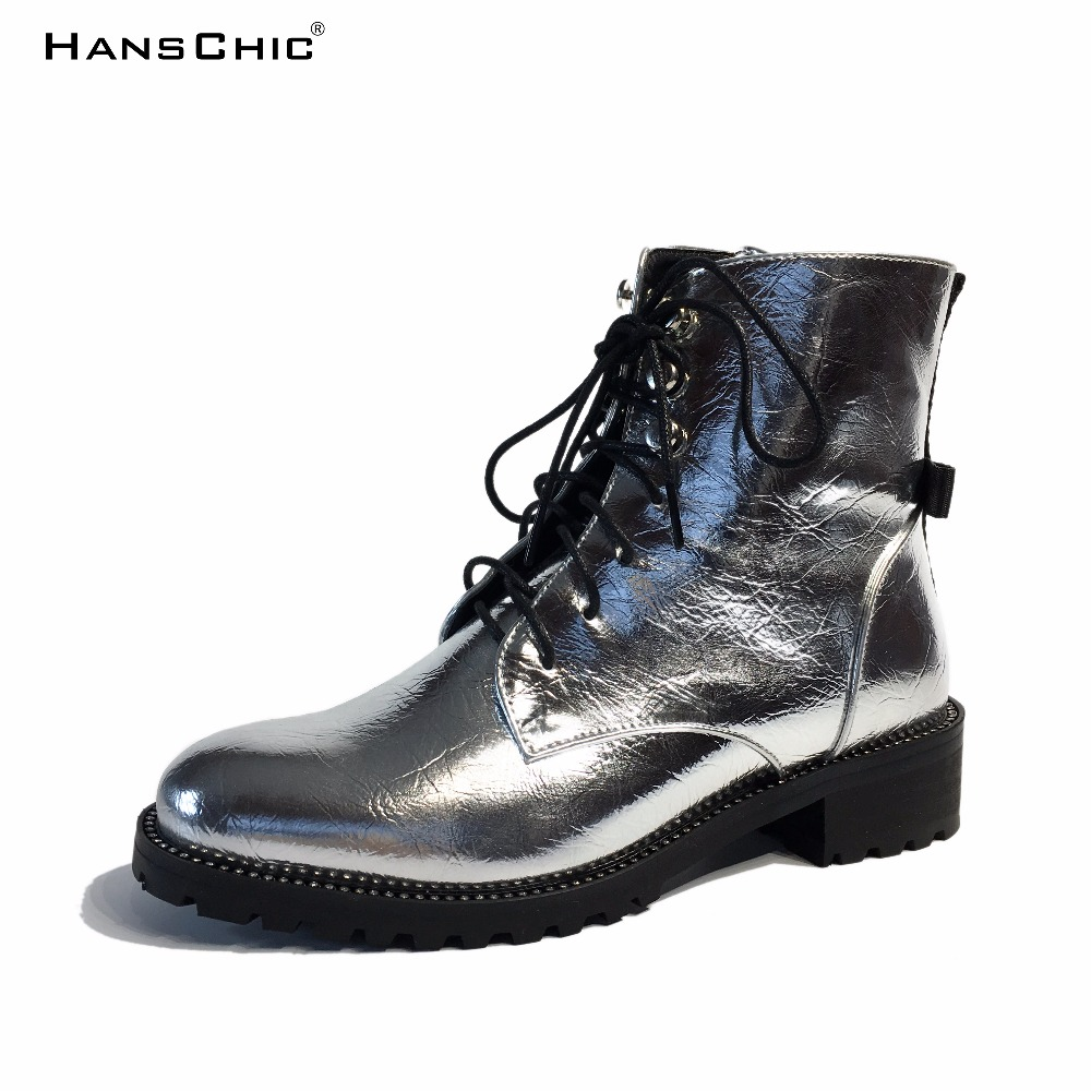 HANSCHIC 2017 New Arrival Special Mirrored Silver Reflective Design Ladies Womens Casual Boots Shoes for Female 8897 hanschic 2017 new arrival winter special rivets design black leather ladies women knee high casual boots for female 1036