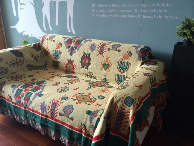 Vintage Woven Soft Sofa Blankets Throws Rugs Cover Chair Table Print Home Decor