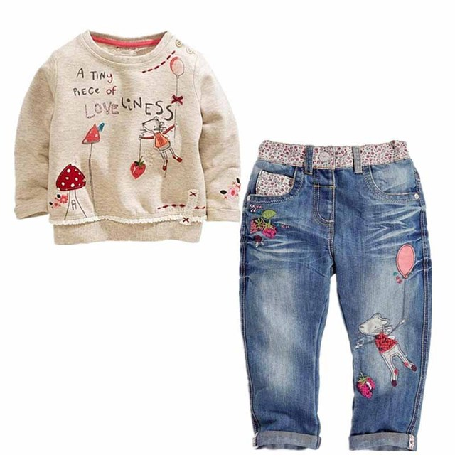 Весна осень новая мода хлопок полный детская одежда устанавливает девушки мультфильм с длинными рукавами свитер + джинсы костюм устанавливает дети костюм