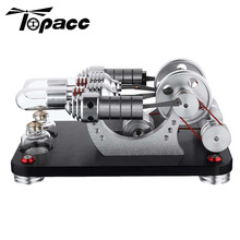 External Combustion Double-cylinder Stirling Engine Model Student Children Learning Physic Science Edeucational Building Block metal baseboard double cylinder micro diy stirling engine external combustion engine