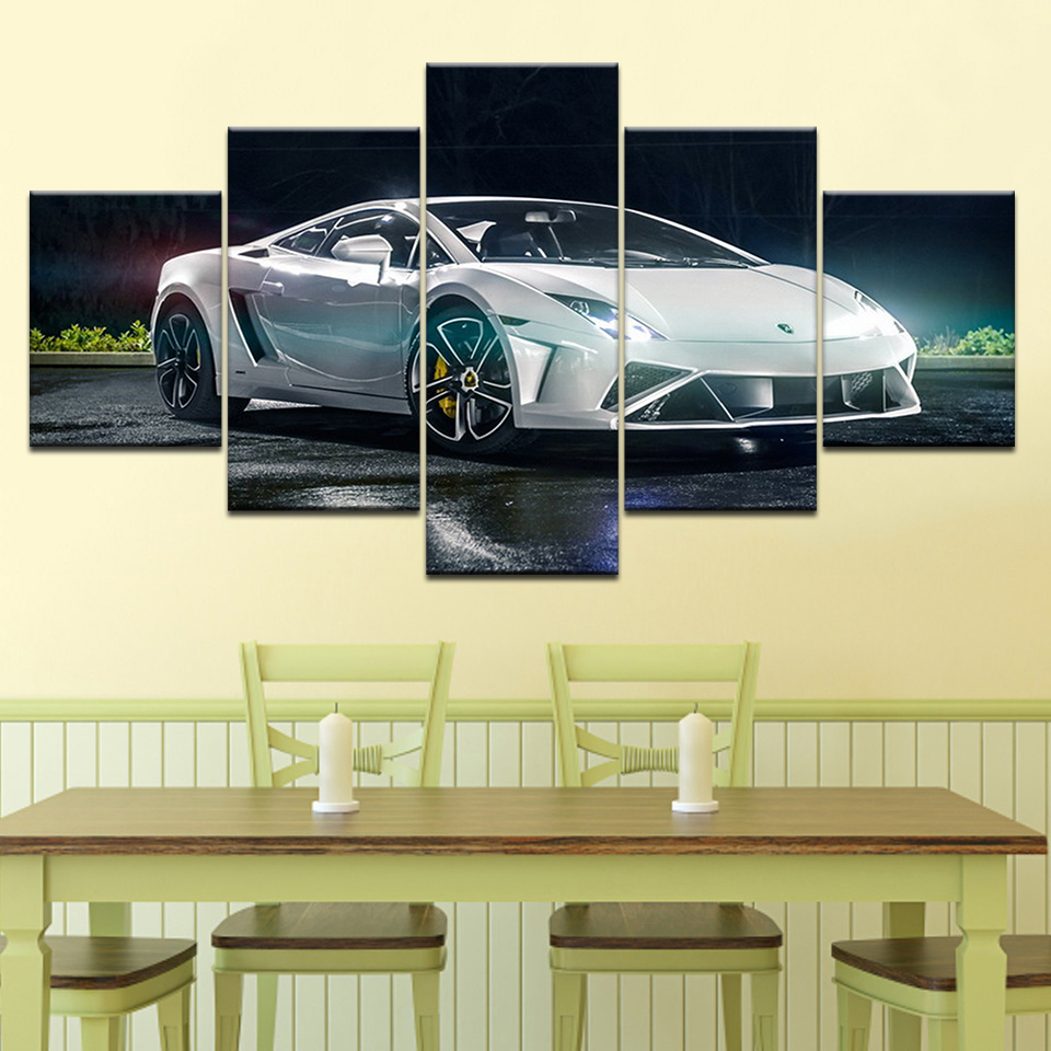 Modern Home Wall Art Decor Frame 5 panel Pictures HD Prints White ...