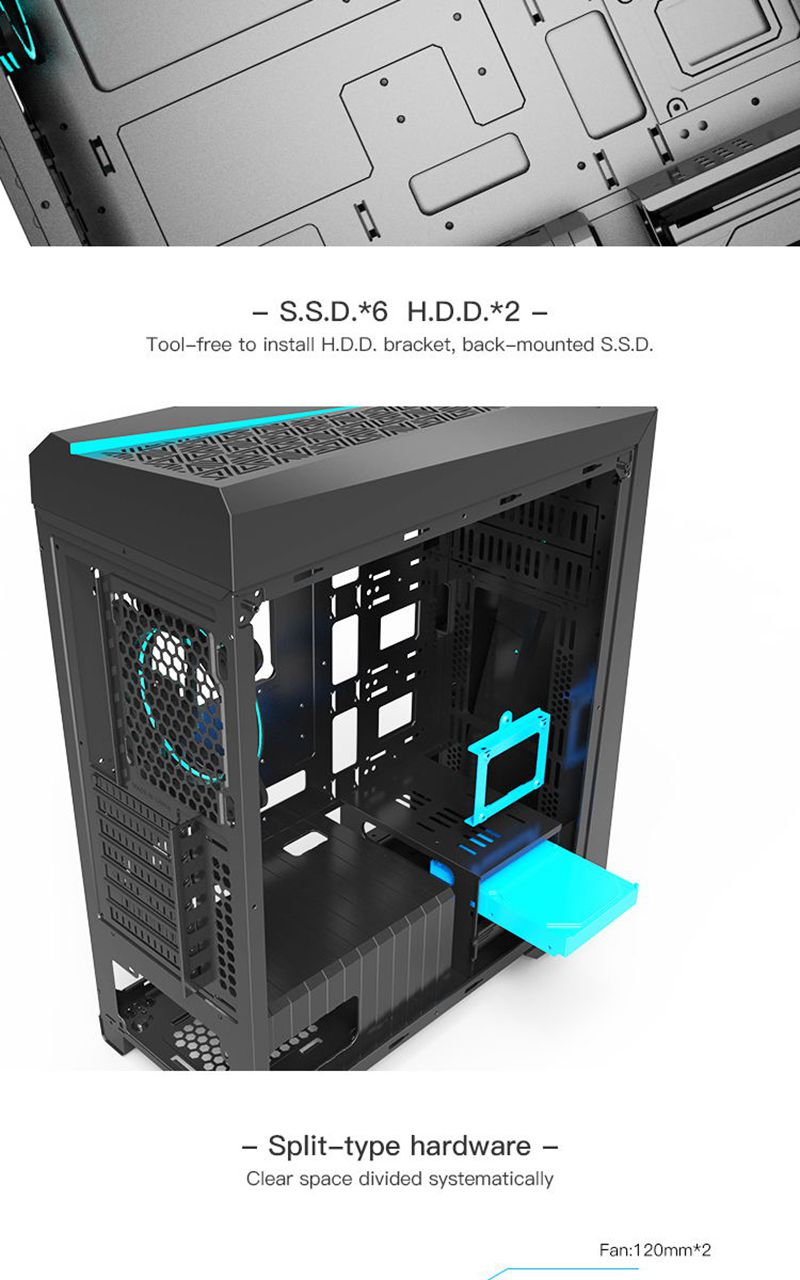 Aigo Flash PC Computer Gaming Case ATX Mid-Tower USB 3 0 Ports Tempered  Glass Windows Computer Case Chassis Free 120mm RGB Fans