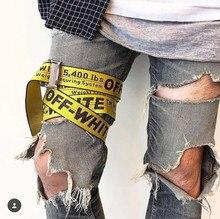 2017 Off White Belt C/O Virgil Abloh Belts men kanye west yellow sliver embroidery hip hop canvas belt women harajuku