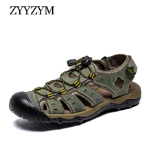ZYYZYM Men Sandal New Fashion Summer Beach Breathable Wading Sandals Genuine Leather Man Causal Shoes Plus Size 39-48