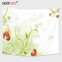 Cutom Tapestry Wall Hanging,Floral Swirled Petals Lines on Grunge Background Retro Scroll Botany Design Light Green Pistachio