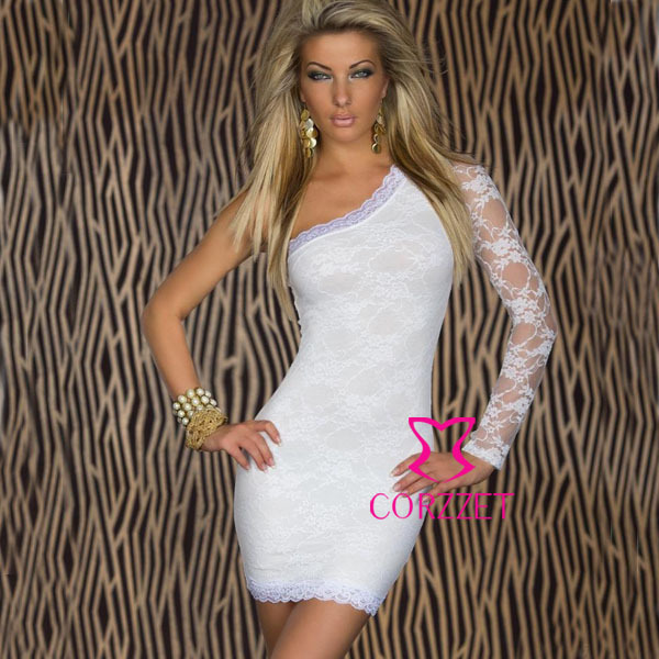 e75b499676 2014 Women Lace Short Sheath Sexy White Dress Wedding Evening Party All  Occasions Wear One Shoulder Summer Dresses For Girls XXL