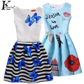 Summer Girls Dress Sleeveless Party Dresses For Girls New Print Girls Clothes Children Clothing Teenagers Dress Costume For Kids