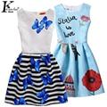 Summer Girls Dress Sleeveless Party Dresses For Girls New Print Girls Clothes Children Clothing Teenagers Dress Costume For Kids