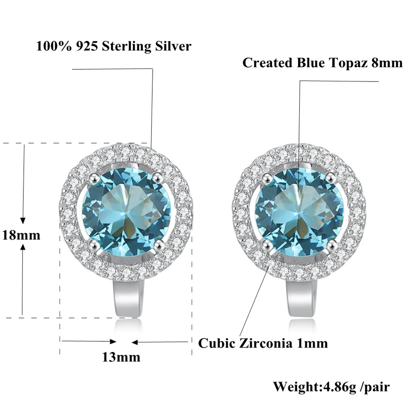 CiNily Orijinaldır. 925 Sterling Gümüşü Mavi Topaz Cubic - Gözəl zərgərlik - Fotoqrafiya 4