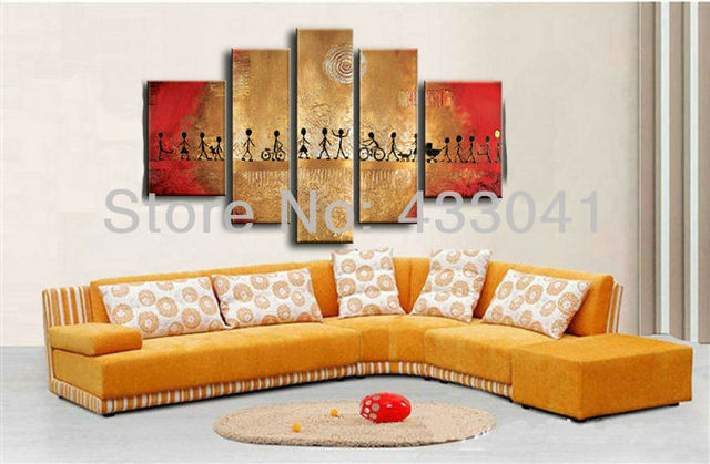 Hand Painted Modern Abstract Golden Red Black People Momentum Life Oil  Painting On Canvas 5 Pieces Part 61