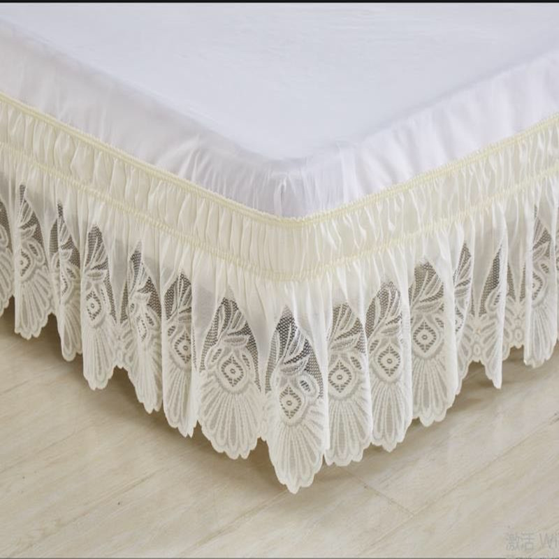 Beige lace princess without bed surface elastic band bed skirt 37cm height twin full queen king size bedspread free shipping