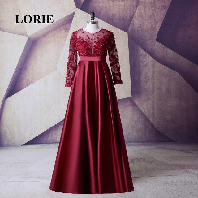 LORIE Satin Langarm Plus Size Mutter der braut kleid Burgund Prom ...
