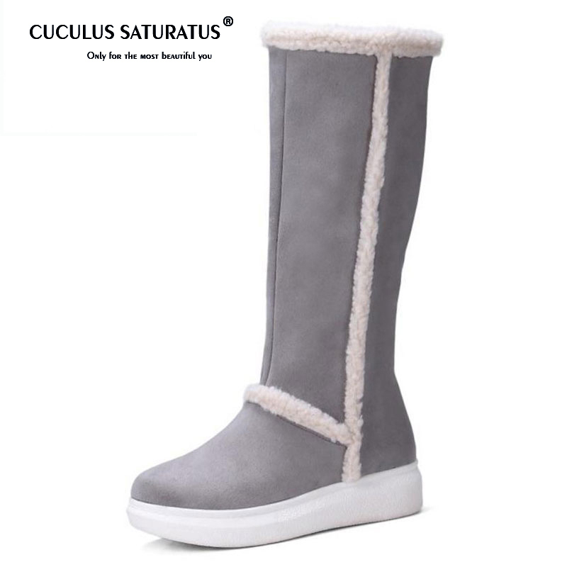 Cuculus 2018 Cold Winter Snow Boots Women Warm Fur Inside Thick Platform Shoes Women Knee High Feminina Warm Flat Botas 1223 rizabina cold winter snow shoes women real leather warm fur inside ankle boots women thick platform warm winter botas size 34 39