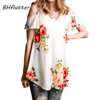 BHflutter Women Tops Plus Size 2018 New Style Floral Print Casual Summer T Shirt Short Sleeve