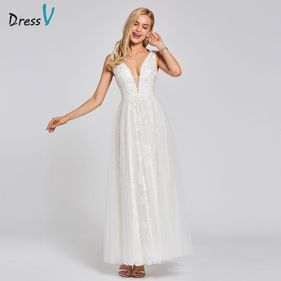 Dressv ivory evening dress cheap v neck a line backless lace floor ...