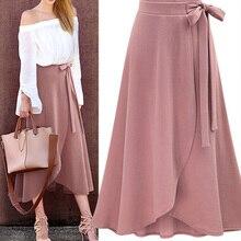 Шифоновая розовая Женская длинная юбка с рюшами, с высокой талией, с бантиком, с разрезом, асимметричные макси юбки для женщин, женская офисная одежда на весну и лето