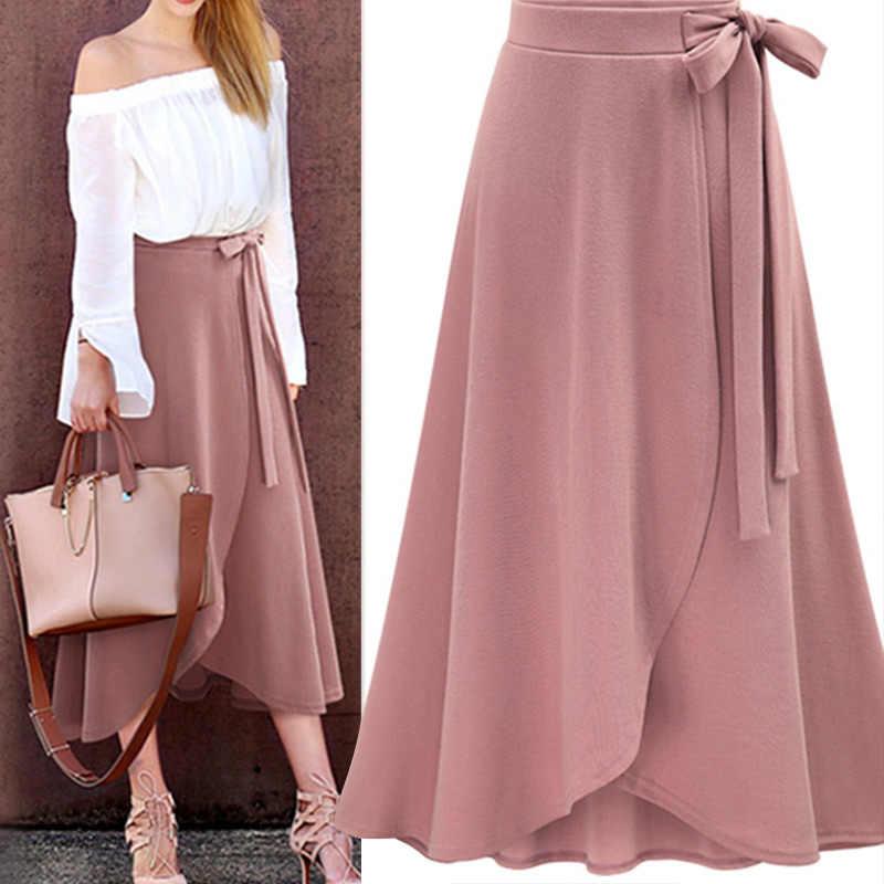 patrones de moda compras nuevo alto Falda larga de gasa rosa con volantes de mujer de cintura ...