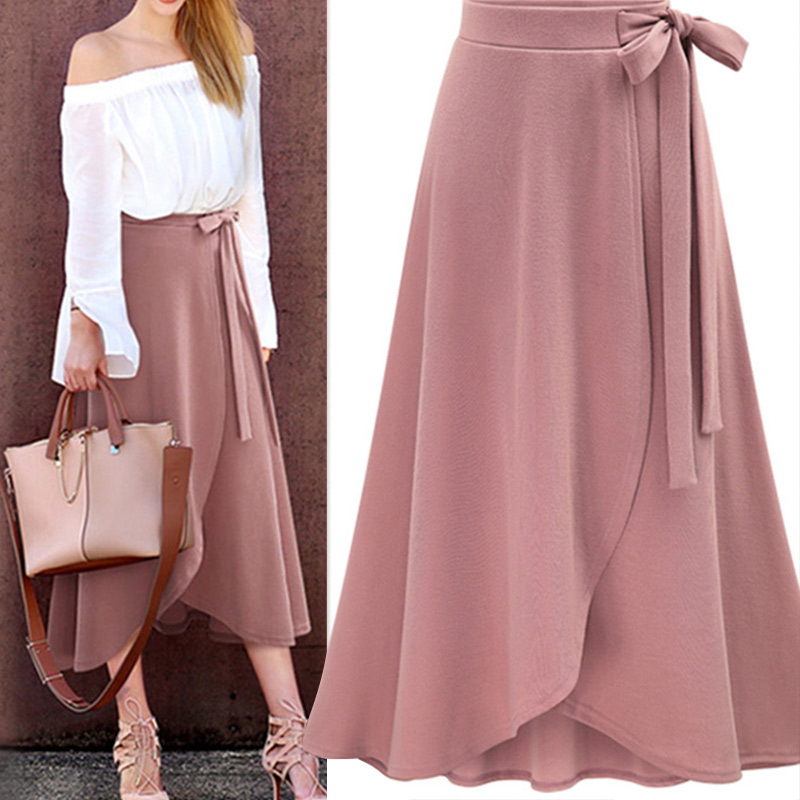 Chiffon Pink Ruffle Women's Long Skirt High Waist Bowtie Split Irregular Maxi Skirts Ladies Spring Winter Office Clothes Female