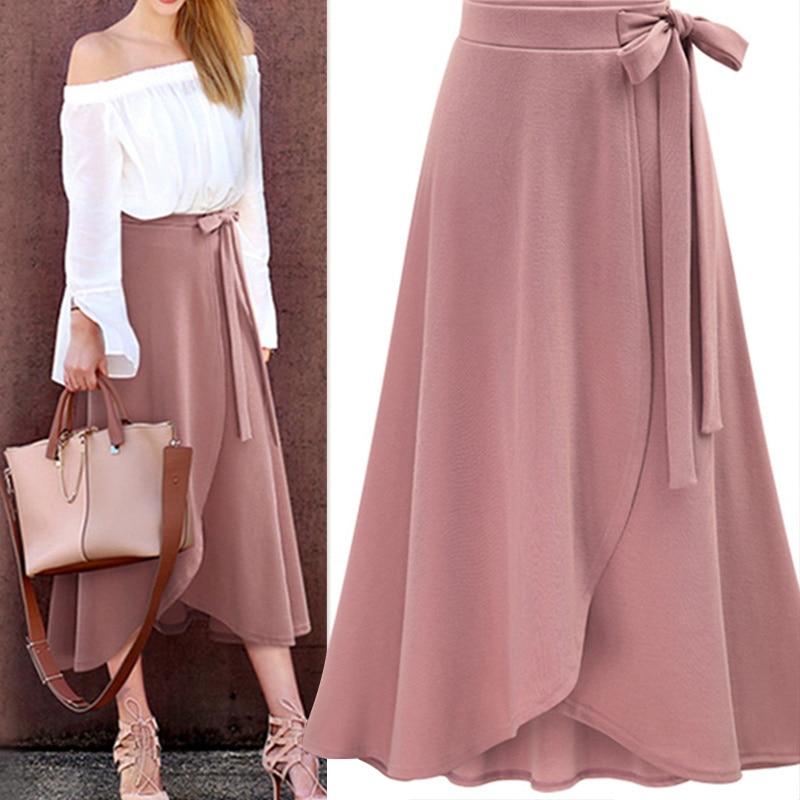 Chiffon Pink Ruffle Women's Long Skirt High Waist Bowtie Split Irregular Maxi Skirts Ladies Spring Winter Office Clothes Female